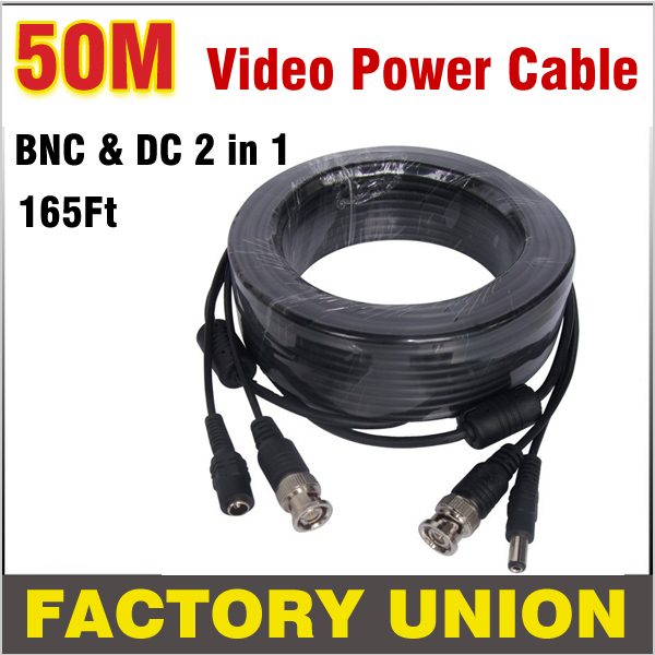 165Ft 50M BNC Cable CCTV Cable BNC + DC plug cable Power video Plug and Play Cable for CCTV Camera system and DVRs 8pcs 20meters cctv cable bnc video dc power plug cable for cctv camera and dvrs security camera cable dhl express freeshipping