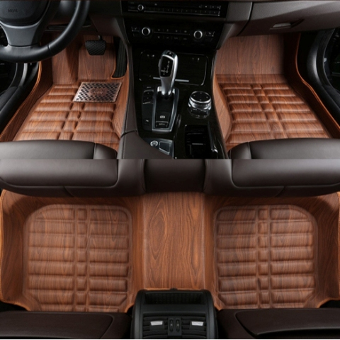 Car Styling 5d Full Cover Woodgrain Leather Car Floor Mats For