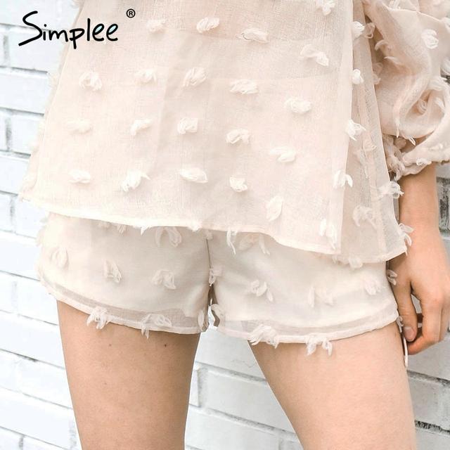 Simplee Causal 3D flower zipper shorts Women vintage streetwear shorts Summer 2017 beach pocket shorts