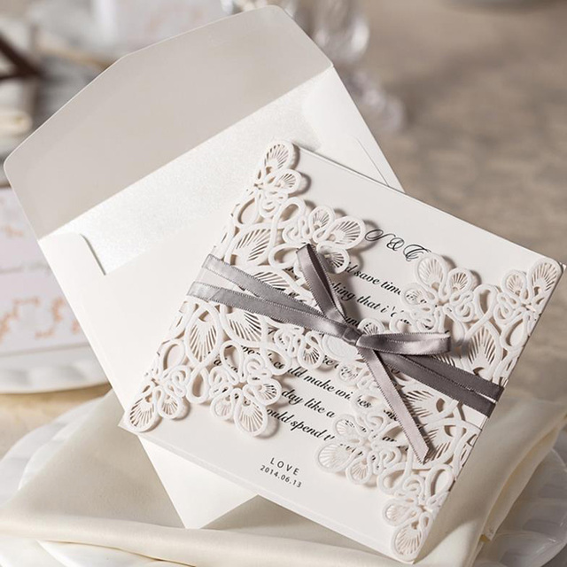 new arrive10pcsset lace and ribbon invitations luxurious