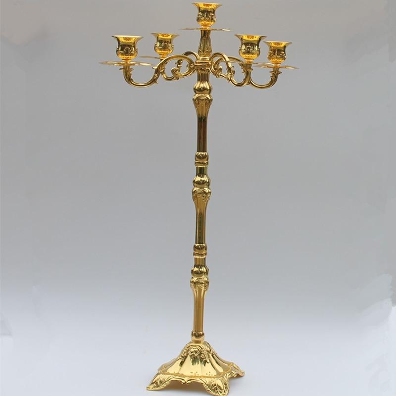 Nouvelle arrivée 83cm brillant doré candélabre pièce maîtresse, - Décor à la maison - Photo 1