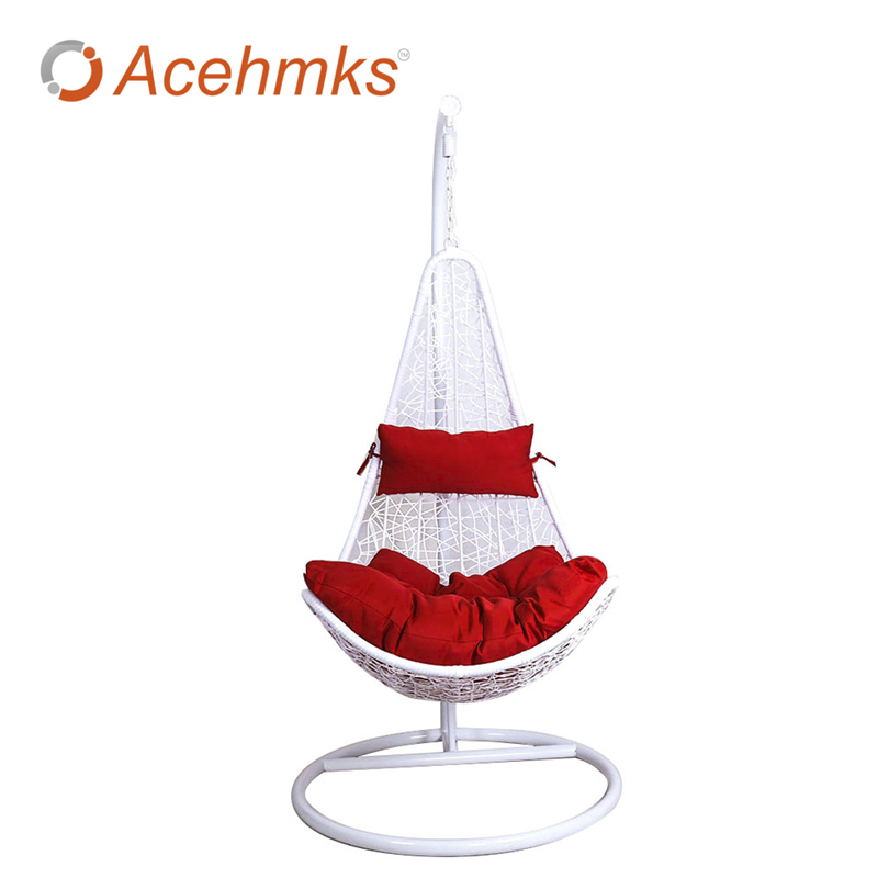 Rattan wicker hanging egg swing with cushion outdoor patio for Cheap hanging chairs