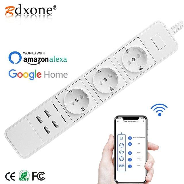 Rdxone Smart Wifi Power Strip wifi plug Sockets 4 USB Port Voice Control Works With Alexas , Google Home Timer