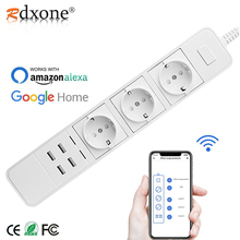 цена на Rdxone Smart Wifi Power Strip wifi plug Sockets 4 USB Port Voice Control for Amazon Echo Alexa's Google Home Timer