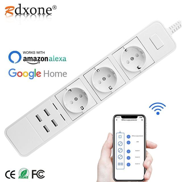 Rdxone akıllı Wifi güç şeridi wifi fişi soket 4 USB portu ses kontrolü Alexa ile çalışır, Google ev zamanlayıcı