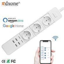 Rdxone inteligentne sterowanie zasilaniem przez wi fi Strip wtyczka wi fi gniazda 4 Port USB sterowanie głosowe działa z Alexa, Google Home Timer