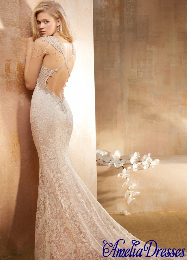 Aw 533 Beautiful V Neckline Cap Sleeves Open Back Trumpet Fit And
