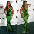 Элегантный Cap рукавом русалка / труба бейонсе знаменитости вечер изумрудно-зеленый сексуальное платье