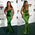 Elegant Cap Sleeve Mermaid/Trumpet Beyonce Celebrity Evening Emerald Green Sexy Dress