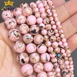 Cuentas redondas de piedras espaciadoras sueltas para la fabricación de joyas, collar de pulseras DIY de 15 '', 4/6/8/10/12mm