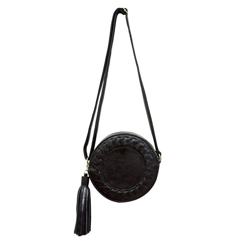 TEXU Manera de las mujeres bolso de la borla de la Ronda weave Crossbody Bolsa d