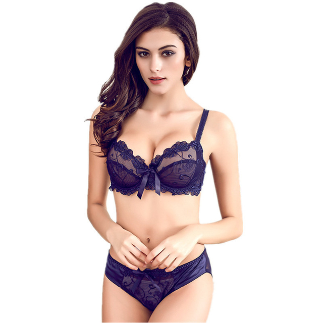 c46737b01e Hot 2017 Free Shipping Fashion transparent sexy bra set plus size Women  gauze embroidery ultra-thin navy blue black underwear