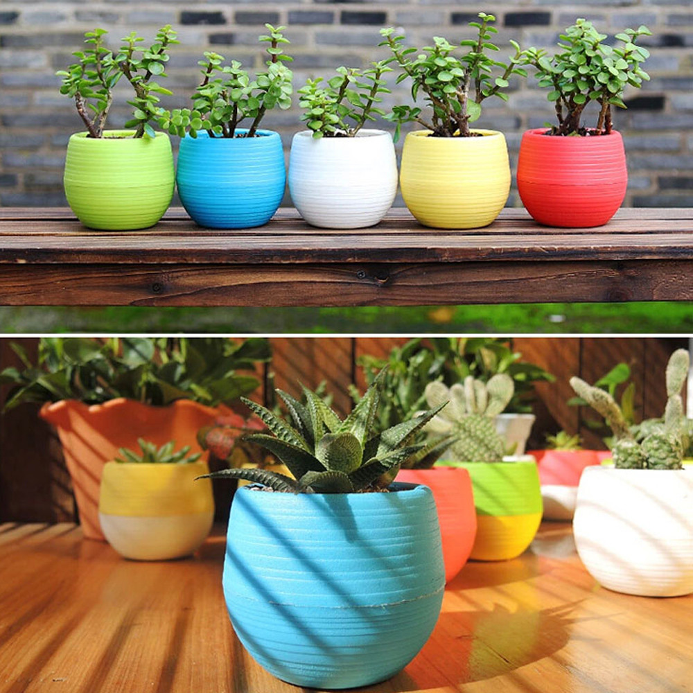 Mini Colourful 1pcs 7*6.5CM Cute Round Home Garden Office Decor Planter Plastic Plant Flower Pots Garden Supplies Free Shipping