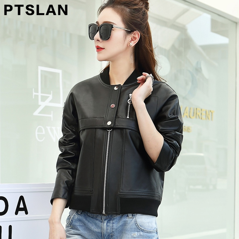 2017 Brand genuine Leather Jacket Women Winter And Autumn New Fashion Zipper Outerwear jacket New 2017 Coat HOT P3080