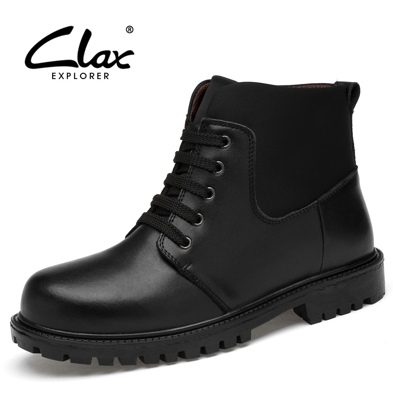 CLAX Men Leather Boots Autumn Work Shoe Male High Top Winter Boot Plush Fur Warm Snow Shoes Casual Man Shoe plus size clax mens boot spring autumn ankle boot genuine leather male casual leather shoe winter boots men snow shoes fur warm plus size
