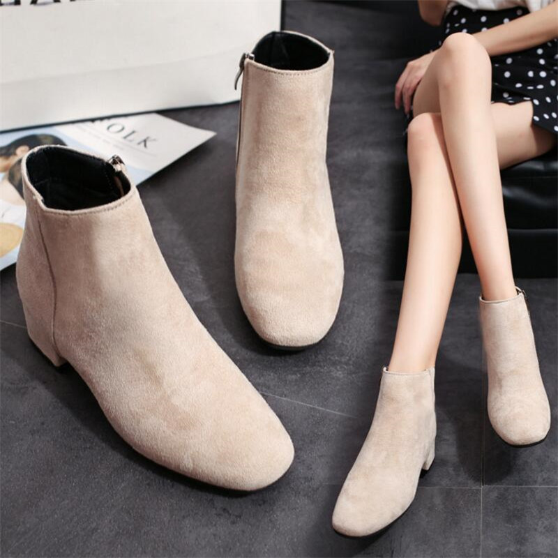 LAIDILANGTU Autumn and winter new wild fashion women 39 s boots suede side zipper boots women 39 s casual comfortable women 39 s shoes in Ankle Boots from Shoes