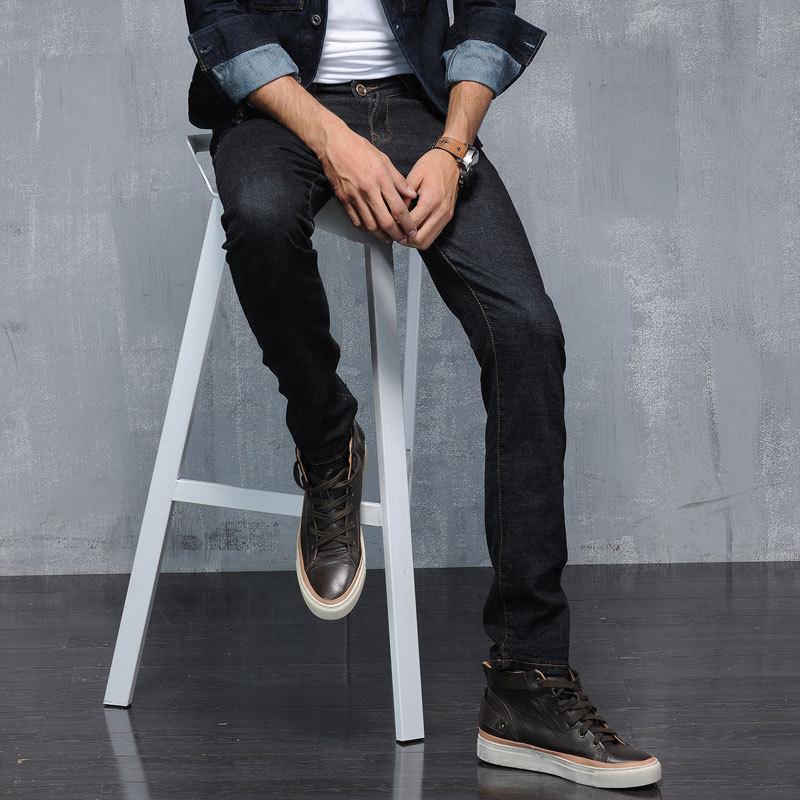 ФОТО Casual Denim Jeans Mens Pencil Pants Stretch Skinny Jeans Plus Size Full Length Slim Fit Mens Denim Casual Korean Fashion