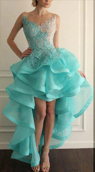Nouveau 2019 bleu robes de bal Illusion o-cou décolleté Organza dentelle Appliques à volants perles transparent dos salut-Lo robes de bal
