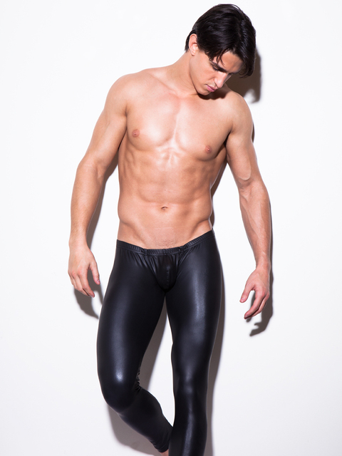 Мужчины Кожаные Штаны Сексуальные Мужчины Кальсоны Леггинсы Пижамные штаны Гей Фитнес Мешок Брюки Lounge Сна