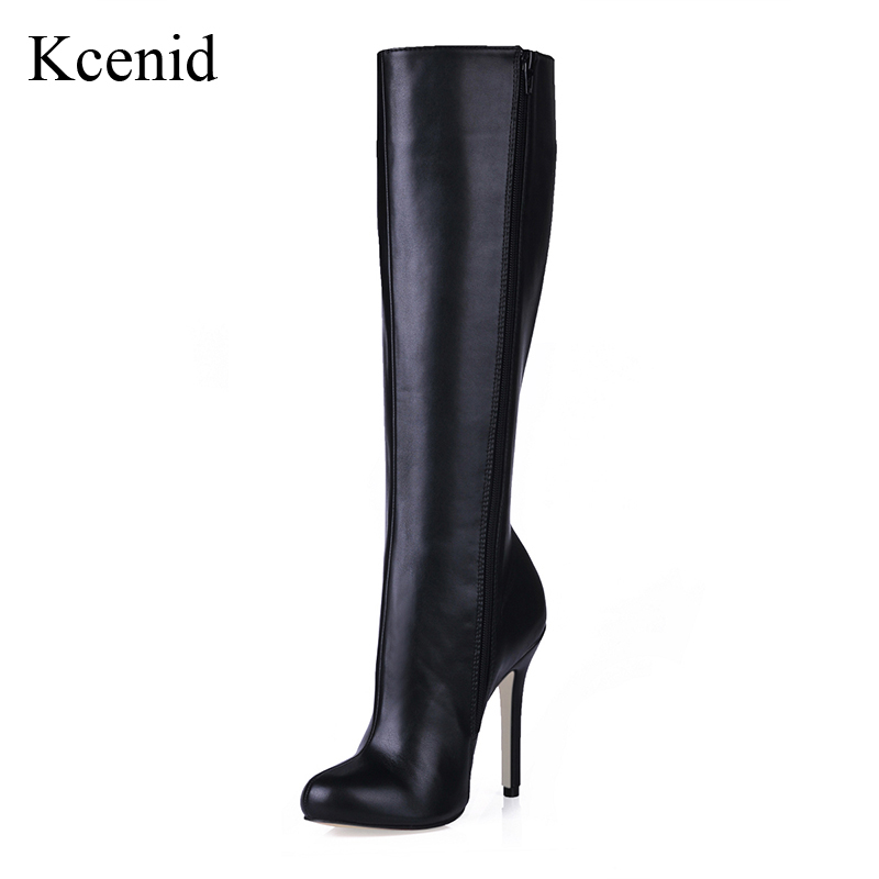 Kcenid 2018 New fashion women s winter boots 12cm sexy high heeled shoes woman warm plush