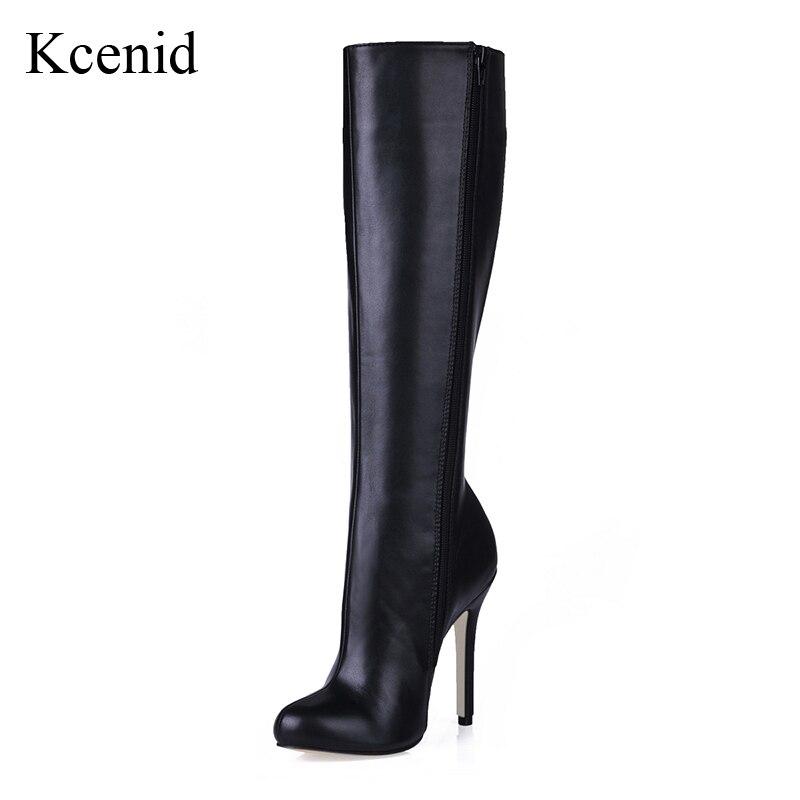 Kcenid 2018 nueva moda botas de Invierno para mujer 12 cm sexis zapatos de tacón  alto 4316dafc2241