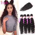 Indian Virgin Hair Water Wave 3 Bundles Weave With Closure 8A Grade Water Wave Virgin Hair Human Hair With Closure Weave Bundles