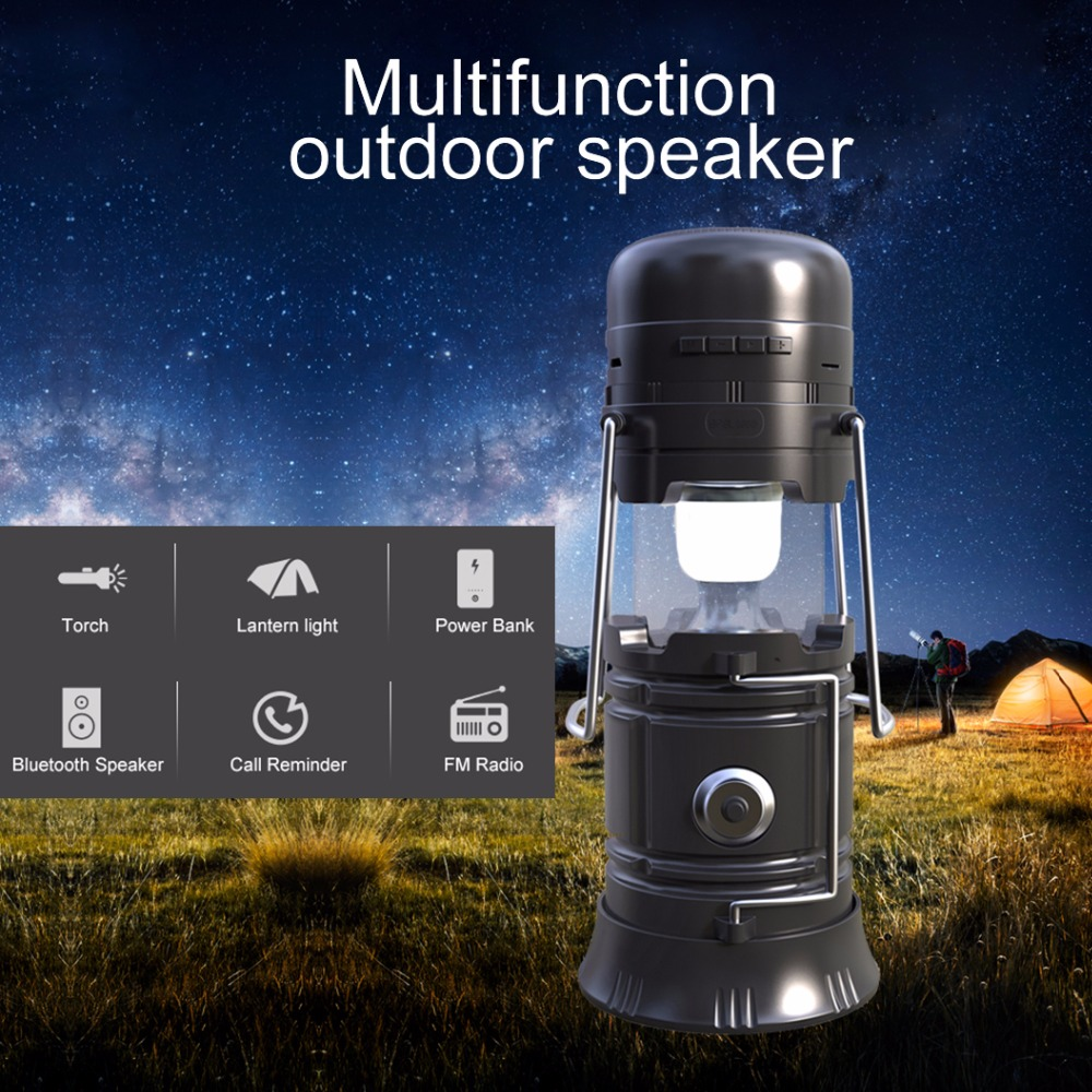 New Arrive 5W Multifunction Bluetooth Speaker Solar Rechargeable Portable LED Lantern Power Camping Tent Light Torch Night Light