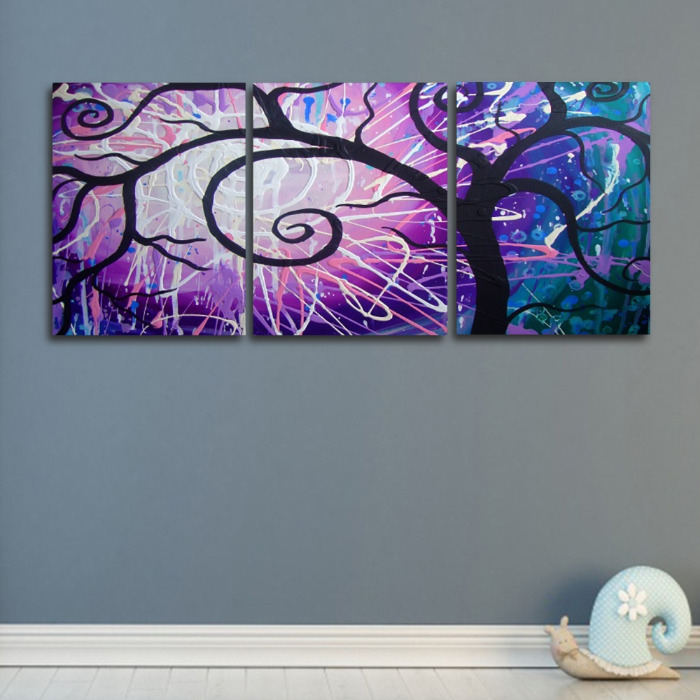 3 Panel Modern Science Fiction Tree Wall Artwork Canvas Painting Posters and Prints Living Room Nordic Home Decoration in Painting Calligraphy from Home Garden
