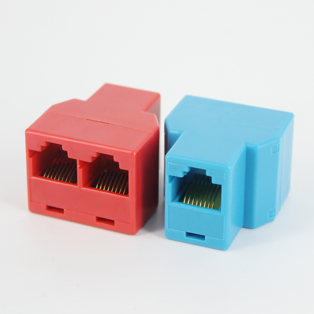 2pcs RJ45 Splitter Adapter 1 To 2 Dual Female Port Connector CAT5 CAT6 LAN Ethernet Sockt Network Connections Splitter Adapter