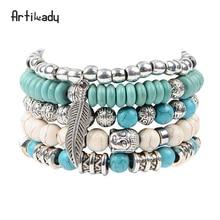 ФОТО artilady new buddha beads 5pcs set bracelets boho turquoise bracelet set for women jewelry party gift