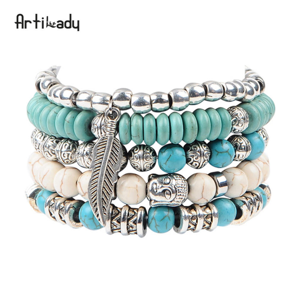 Artilady new buddha beads 5pcs set bracelets boho stone bracelet set for statement women jewelry party gift