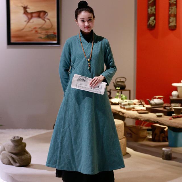 2016 Nova Inverno Ar Lin Yu Xie Tecidos de Algodão Modificado Hanfu Guqin Chá Verde Mulheres Jaqueta de Inverno Para Baixo Casaco
