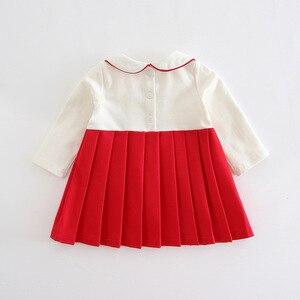 Image 2 - 赤ちゃんの女の子は秋プレッピースタイルのウサギのパターン幼児ドレス子供プリーツクリスマスドレスのための服 0  2 t