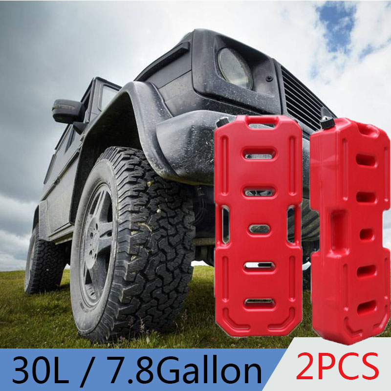 2pcs 30L 7.2 Gallon Capacity Plastic Petrol Tanks HDPE Oil Gallon Gas Canister Flexible Spout Military Cans