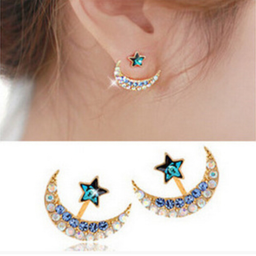 1 Pair S Charm Ear Studs Beauty Moon Star Rhinestone Cute Chic Delicate Earrings Jewelry