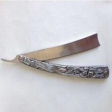 Professional Straight Edge Stainless Steel Shaper Barber Razor Folding Shaving Knife Aluminum Vintage Shaver