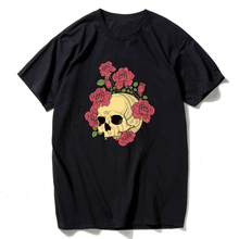 hot deal buy black t shirts for men casual funny skull with rose flower short sleeve t shirts for men hip hop streetwear summer rock t shirts