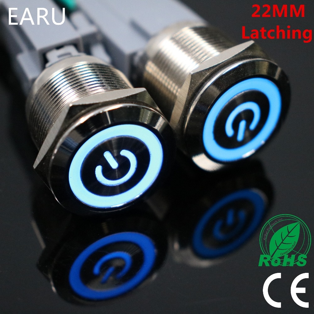 22mm Waterproof Latching Stainless Steel Metal Lamp LED Horn Power Push Button Switch Car Auto Engine Start PC Computer Power 16mm waterproof latching stainless steel metal power horn push button switch led car auto engine pc power start starter 12v 24v