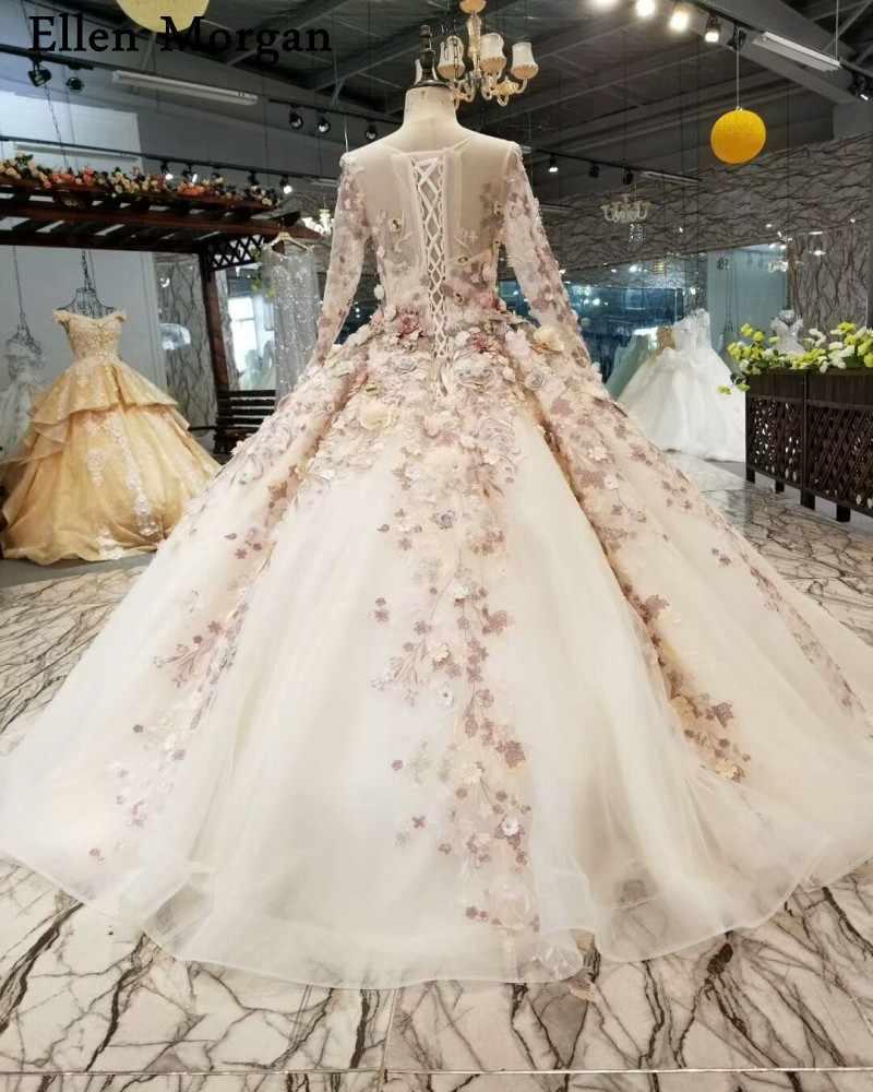אלגנטי כדור שמלות כלה שמלות 2019 אפריקאי שחור בנות ארוך שרוולים 3D פרחי תחרה למעלה Sheer צוואר נפוחה כלה שמלות