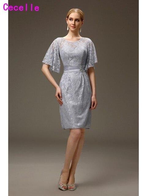 Silber Grau Casual Mantel Spitze Mutter der Braut bräutigam Kleider ...