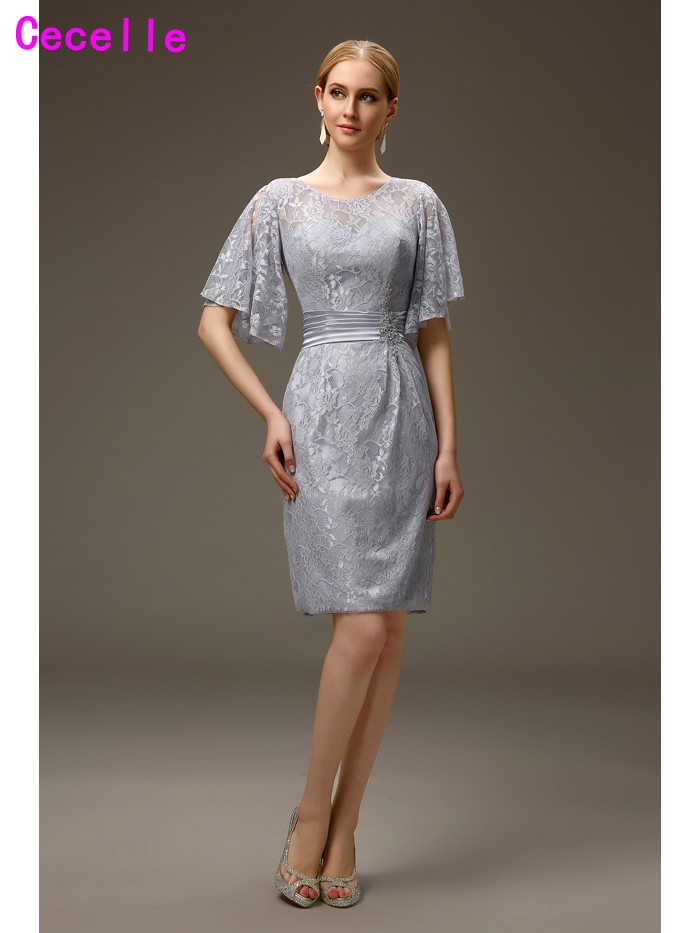 Silver Grey Short Casual Sheath Lace Mother of the Bride ...