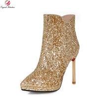 Originele Bedoeling Populaire Laarzen Puntschoen Metalen Stiletto Hakken Laarzen Zwart Wit Goud Zilver Schoenen Vrouw ONS Grootte 3-10.5