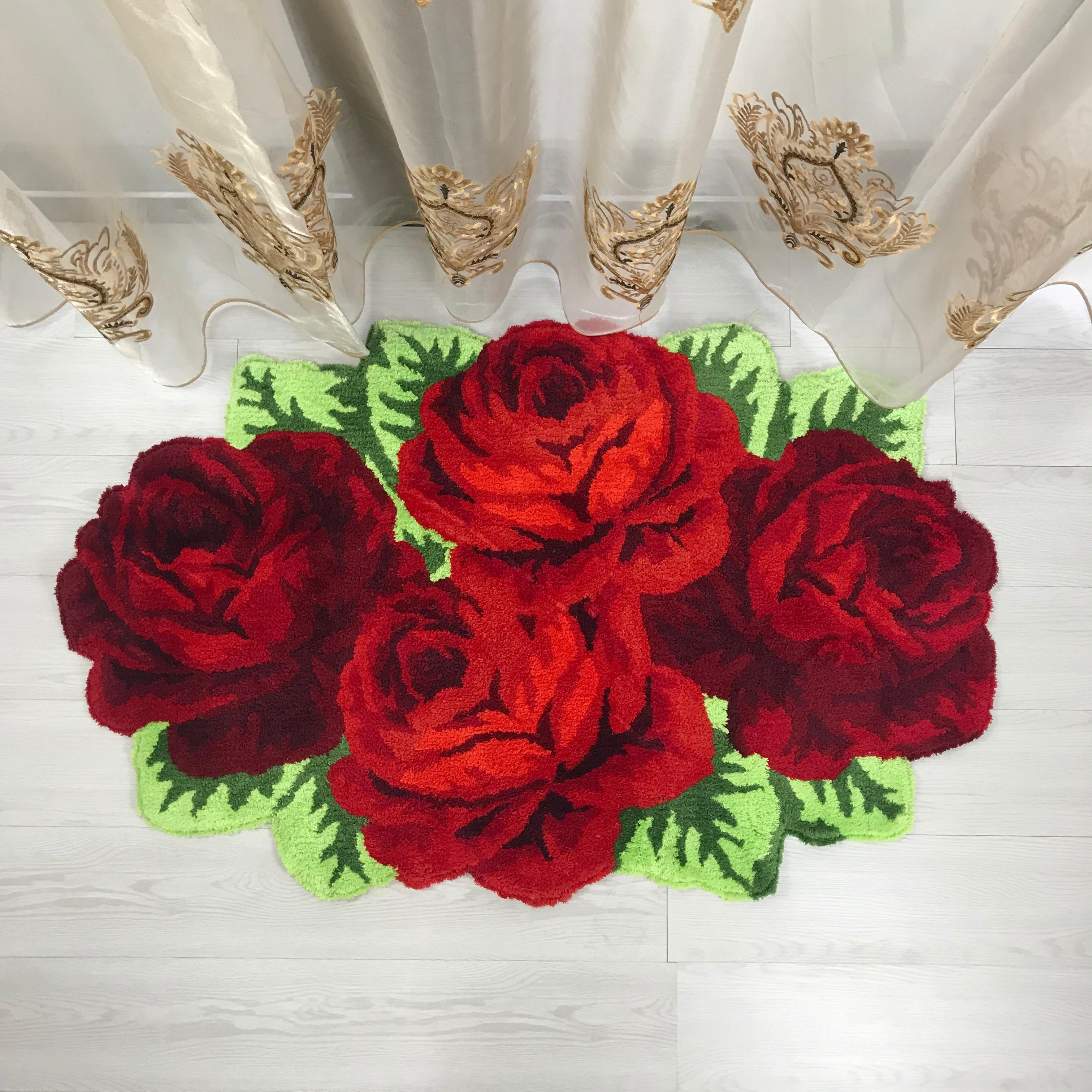 Haute qualité luxe 3d rose tapis chambre tapis maison salon mariage amant fleur tapis salon art tapis de sol doux 200*120cm - 5