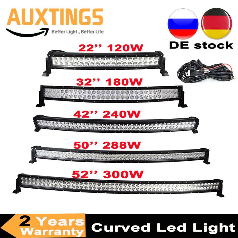 """Dual-Row 54/"""" inch Curved LED Light Bar Combo 4/"""" Pods Offroad Truck ATV 52/"""""""