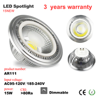 New Arrival AR111 Led Spotlight Dimmable 15W G53 E27 Gu10 Led Spot Lamp AC85 265V Warm Cold White 3 years Warranty UL cUL CE
