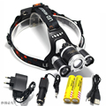 Zoom Headlight 8000LM  3*LED XM-T6 LED High Power Head light Headlamp Lamp +2*18650 Battery +Charger +Car Charger +USB