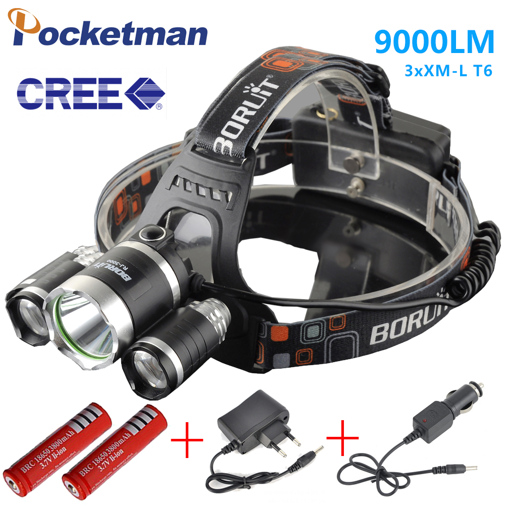 3 LEDs Headlamp XM-L T6 9000 Lumen LED Headlamp Headlight Caming Hunting Head Light Lamp+2*18650 Battery + AC/Car Charge ...