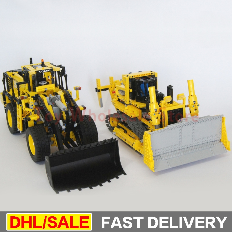 LEPIN 20006 L350F wheel loader Lepin 20008 remote control the bulldozer Model Building Set Blocks Bricks lepins Toys Clone 42030 цена