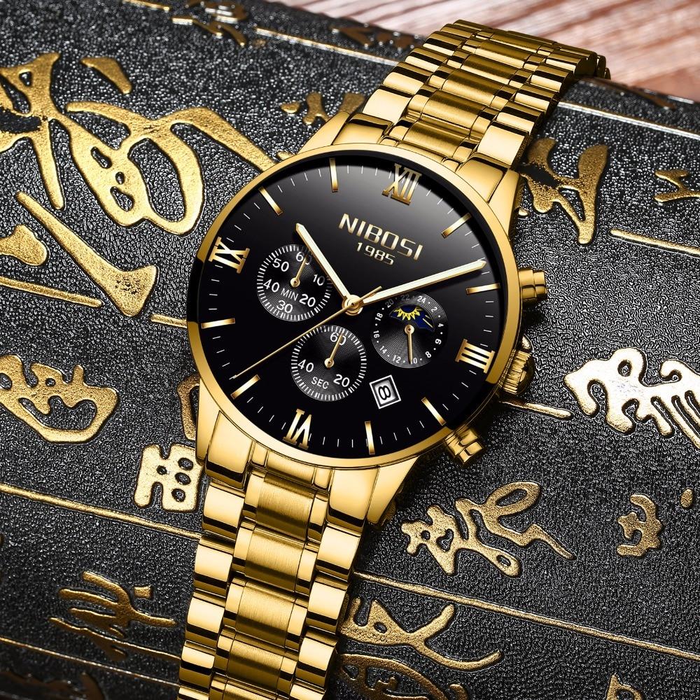 NIBOSI Gold Luxury Famous Top Brand Men Golden Watch Relogio Masculino Military Army Analog Quartz Wristwatch For Businessman l 10 women s stylish petals style bracelet quartz analog wristwatch golden white 1 x lr626