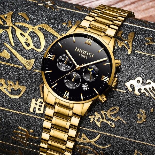 82f47ad1ba9 Relogio Nibosi de Ouro De Luxo Famosa Marca de Topo Homens Relógio de Ouro  Relogio masculino